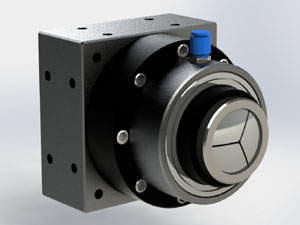 This pneumatic closing rotary collet chuck was designed for and used in 4th axis laser cutting and marking applications. The design offered axial repeatability superior to similar units available at the time.