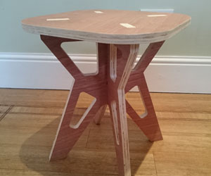 CNC cut furniture parts, knock together tabbed stool or chair design